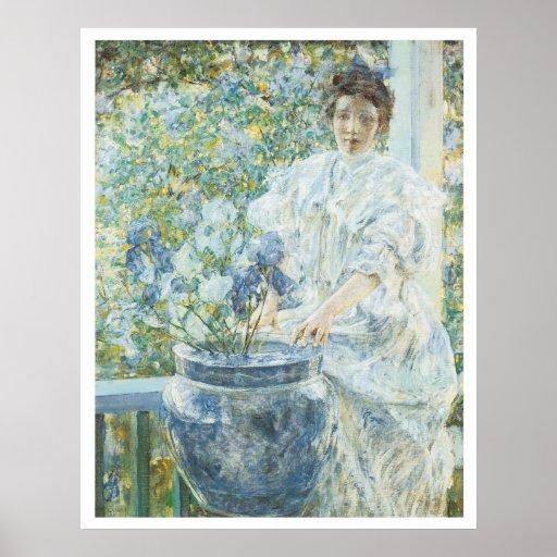 Mujer con un florero de Irisis, Roberto 1906 Reid Poster