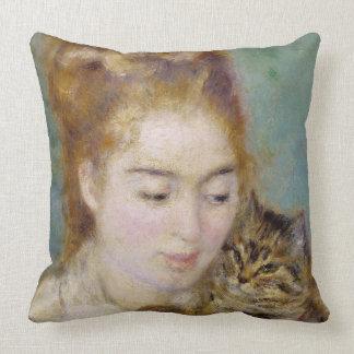 Mujer con un gato, c.1875 (aceite en lona) 2 cojines