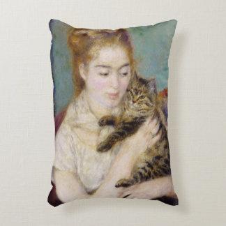 Mujer con un gato, c.1875 (aceite en lona) 2 cojín decorativo