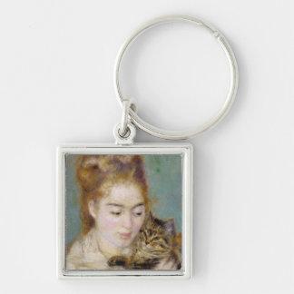 Mujer con un gato, c.1875 (aceite en lona) 2 llavero personalizado