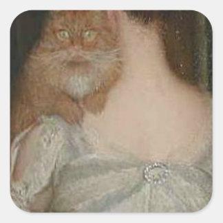 Mujer con un gato de Lilla Cabot Perry Pegatina Cuadrada