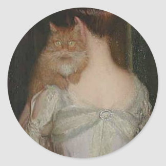 Mujer con un gato de Lilla Cabot Perry Pegatina Redonda