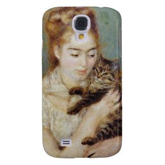 Mujer con un gato de Pierre-Auguste Renoir Funda Para Samsung Galaxy S4