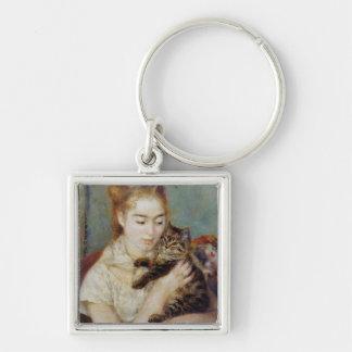 Mujer con un gato de Pierre-Auguste Renoir Llavero Personalizado