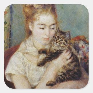 Mujer con un gato de Pierre-Auguste Renoir Pegatina Cuadrada