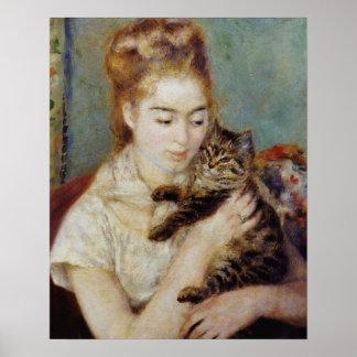 Mujer con un gato de Pierre-Auguste Renoir Póster