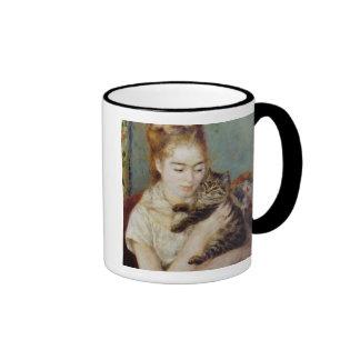 Mujer con un gato de Pierre-Auguste Renoir Taza De Café