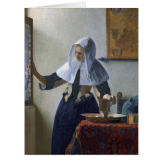 Mujer con un jarro de agua de Juan Vermeer Felicitaciones