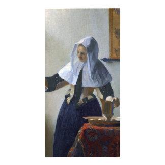 Mujer con un jarro de agua de Juan Vermeer Tarjetas Fotograficas Personalizadas