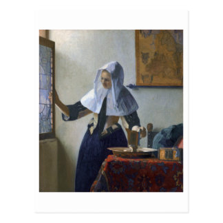 Mujer con un jarro de agua de Juan Vermeer Postales