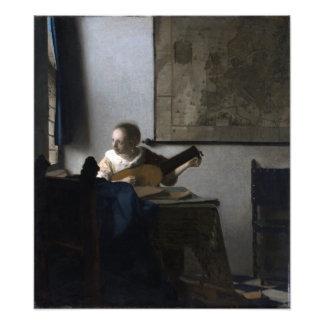 Mujer con un laúd de Juan Vermeer Arte Fotográfico