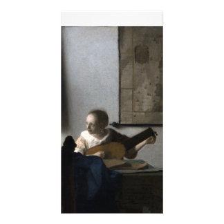 Mujer con un laúd de Juan Vermeer Tarjetas Con Fotos Personalizadas