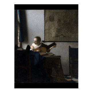 Mujer con un laúd de Juan Vermeer Tarjeta Postal