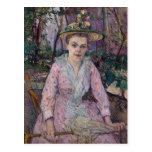 Mujer con un paraguas, 1889 tarjeta postal