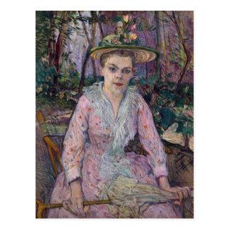 Mujer con un paraguas 1889 tarjeta postal