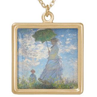 Mujer con un parasol, 1875 (aceite en lona) colgante cuadrado