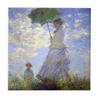 Mujer con un parasol de Claude Monet Azulejo Cuadrado Pequeño