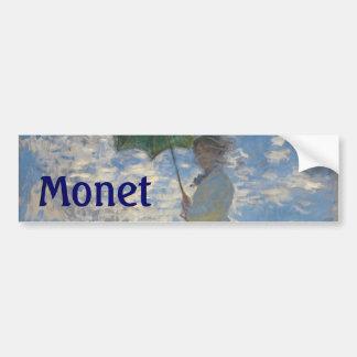Mujer con un parasol de Claude Monet Pegatina Para Coche