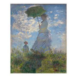 Mujer con un parasol de Claude Monet Cojinete