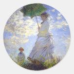 Mujer con un parasol de Claude Monet Pegatina Redonda