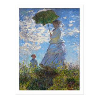 Mujer con un parasol de Claude Monet Postal