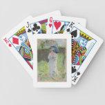 Mujer con un parasol (en colores pastel en el pape cartas de juego