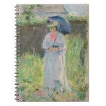 Mujer con un parasol (en colores pastel en el pape libreta