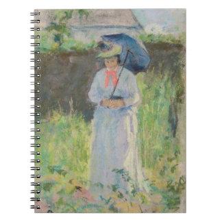 Mujer con un parasol (en colores pastel en el pape libretas