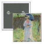 Mujer con un parasol (en colores pastel en el pape pin cuadrado