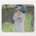 Mujer con un parasol (en colores pastel en el pape tapetes de ratones