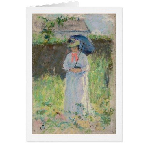 Mujer con un parasol (en colores pastel en el pape tarjeta de felicitación