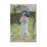 Mujer con un parasol (en colores pastel en el tarjetas postales