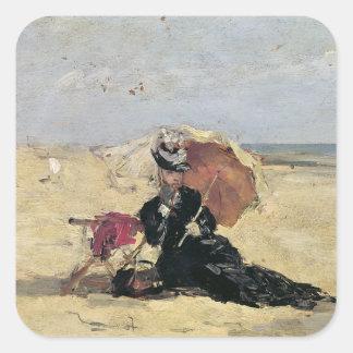 Mujer con un parasol en la playa, 1880 calcomanías cuadradases
