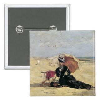 Mujer con un parasol en la playa, 1880 pin cuadrado