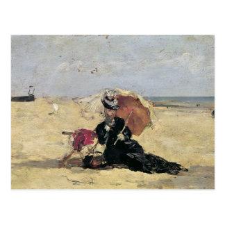 Mujer con un parasol en la playa, 1880 tarjeta postal