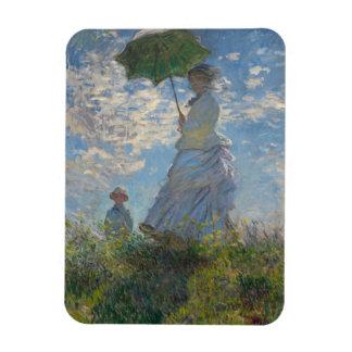 Mujer con un parasol - señora Monet y su hijo Imanes Rectangulares