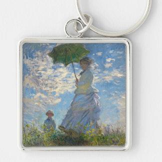 Mujer con un parasol - señora Monet y su hijo Llavero Cuadrado Plateado