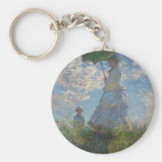 Mujer con un parasol - señora Monet y su hijo Llavero Redondo Tipo Pin