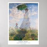 Mujer con un parasol - señora Monet y su hijo Posters