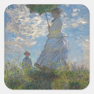 Mujer con un parasol - señora Monet y su hijo Pegatina Cuadrada