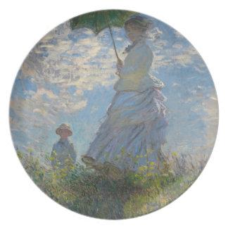 Mujer con un parasol - señora Monet y su hijo Plato De Comida