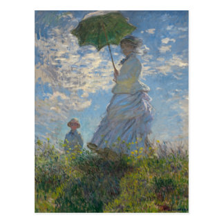 Mujer con un parasol - señora Monet y su hijo Postal