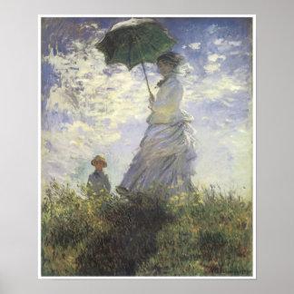 Mujer con un parasol - señora Monet y su hijo Póster