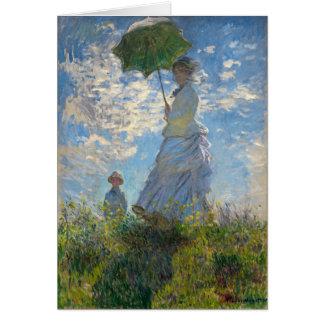 Mujer con un parasol - señora Monet y su hijo Tarjeta De Felicitación