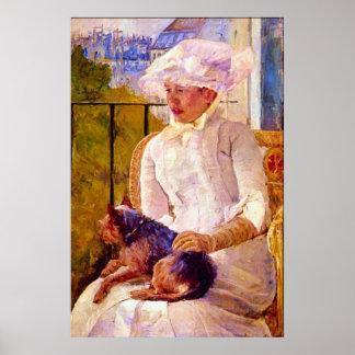 Mujer con un perro de Maria Stevenson Cassatt Impresiones