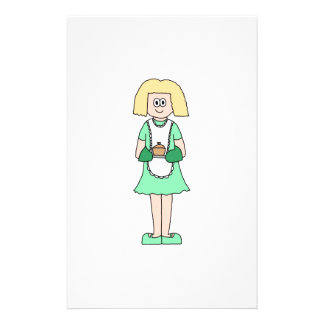 Mujer con un pote caliente de la sopa. En verde y  Tarjetón