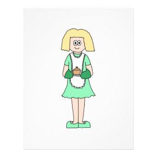 Mujer con un pote caliente de la sopa. En verde y  Flyer A Todo Color