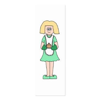 Mujer con un pote caliente de la sopa. En verde y Tarjetas De Visita Mini
