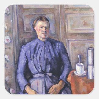 Mujer con un pote del café, c.1890-95 pegatina cuadrada
