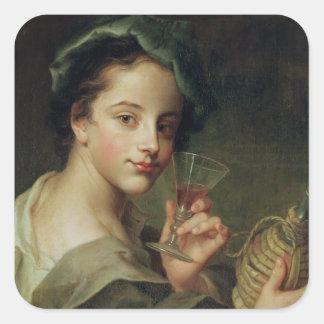 Mujer con un vidrio de vino calcomanias cuadradas